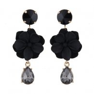 C11042955 Black Flower Black Diamond Bead Korean Earstuds