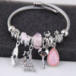 C0150706156 Silver with Pink Stones and Beads Adjustable Bangle
