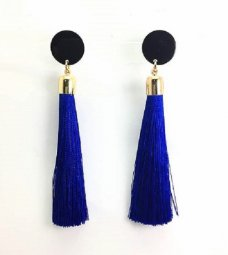 P192322BLUE Blue Tassel Black Circle Elegant Earstuds Shop