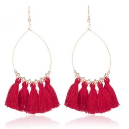 A-KJ-E020251red Maroon Red Oval Dangling Tassel Hook Earrings