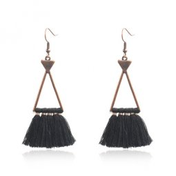 A-HH-HQEF1632(black) Hollow Triangle Classic Tassel Black
