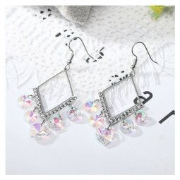 A-LG-ER0389 Dangling Colorful Crystal Korean Style Hook Earrings