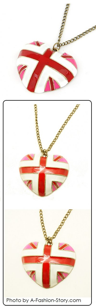 C12011629 Pink union jack long necklace malaysia accessories