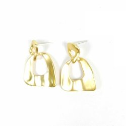 A-TT-P1071 Gold Double Layer Square Elegant Event Earstuds