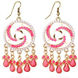 A-HY-E177 Pink White Beads Round Circle Hook Earrings Malaysia