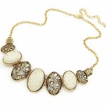 C10040581 White oval bead vintage korean choker necklace