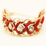 C110308115 Light gold crystal red ribbon bracelet accessories