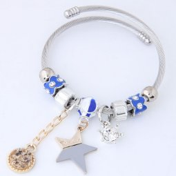 C14032076 Shiny Crown Charm with Crystals Silver Bracelet