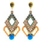 A-H2-100E25 Orange Blue Crystal Vinatge Wooden Dangling Earstuds