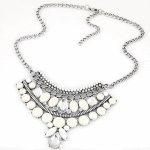 C10123045 White beads crystal white korean choker necklace