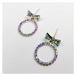 A-QK-0699 Ribbon Rings Embellish Crystal Korean Style Earstuds