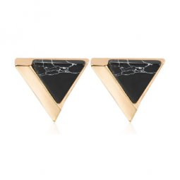 A-JW-6966 Black Trendy Triangle Marble Gold Fashion Earstuds