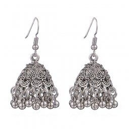 P134434 Silver Dome Carved Mini Love Antique Style Earrings