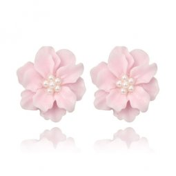 A-YG-5962pink Pink Flower Pearl Beads Korean Style Earstuds