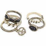 C10031138 Vintage peace beads 5 sets ring korea accessories
