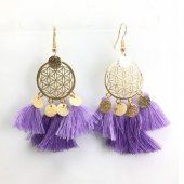 A-SD-EH116402Pur2 Purple Tassel Flower Round Hook Earrings
