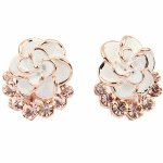 P92077 White flower brown crystals korean earstuds accessories