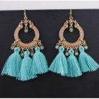 A-SD-XL0245blue Sky Blue Bead Dangling Tassel Hook Earrings