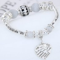 C0150742204 Greyish Beads Silver Made Love Adjust Charm Bangle