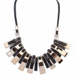 P115091 Black gold plated elegant korean statement necklace