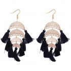 P127506 Black Moon Dangling Tassel Elegant Bohemian Earrings