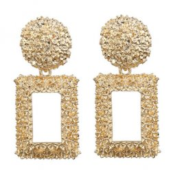 A-FX-E3749gold Plain Golden Korean Minimal Dinner Earstuds