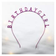 A-JF-HG101purple Birthday Girl Wording Headband Purple