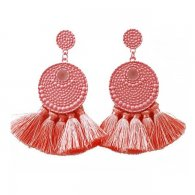 A-FX-E3708peach Peach Bubbly Textured Circle & Tassel Earrings