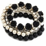 P99406 Light gold rose black elastic bracelet wholesale shop