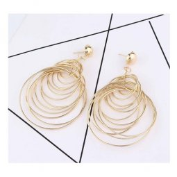 A-FX-E6079 Multi Dangling Gold Circles Layering Korean Earstuds