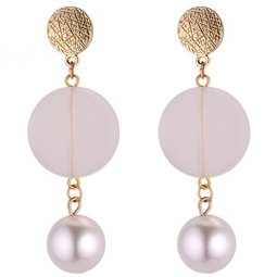 P132100 Matte Surface Circles With Pear White Bead Earstuds