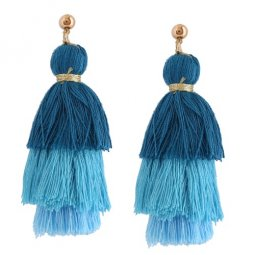 A-QD-E1042blue Blue 3 Layers Arabian Tassel Wholesale Earrings
