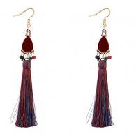 P127542 Colourful Oval Bohemian Gold Tassel Earrings
