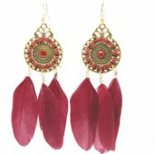 P121652 Maroon Round vintage dreamcatcher feather earrings