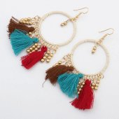 P121261 Colourful gold round bohemian hook earrings malaysia