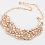 C10072547 Gold pearl elegance short necklace accessories shop
