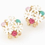 C11051410 Sunflower crystals korean earstuds accessories shop