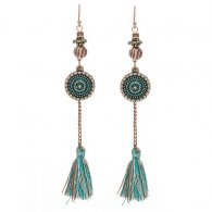 A-KJ-E020241tur Turquoise Vintage Mix Vintage Tassel Earrings