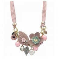 A-FF-FL12pink Pink Themed Flora Pink Beads Modern Style Necklace