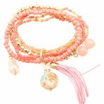 P99060 Pink peach flower beads elastic korean bracelet