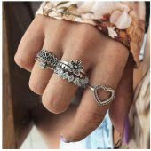 P132724 Silver 6 Pcs Set Flower Love Chunky Rings Wholesale Shop