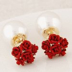 C110101249 Red rose pearl double earstuds malaysia earrings shop