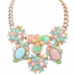 P111182 Colourful flower beads korean statement necklace shop