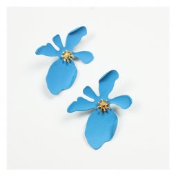 A-FX-E3516blue1 Blue Korean Flower Mold Gold Buds Earstuds