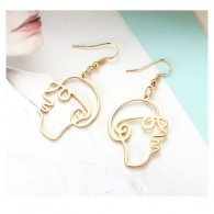 A-LG-ER0608face Korean Style Man Face Outline Hook Earrings