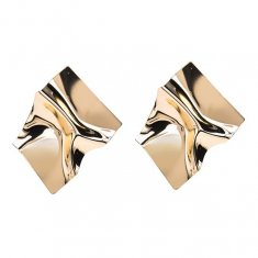 A-MY-0802g Gold Crumpled Metal Plate Futuristic Design Earrings