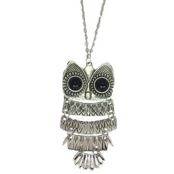 C-UN-004 Vintage Big Eyes Owl Long Necklace