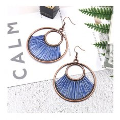 A-HH-HQEF1172(blue) Hawaii Round Copper Blue Hook Earrin