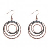 A-DW-HQE588 Turquoise Blue & Bronze Layered Circles Hook Earring