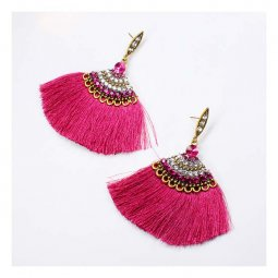 A-FX-E6098pur Purple Spread Tassel Glamorous Bollywood Style